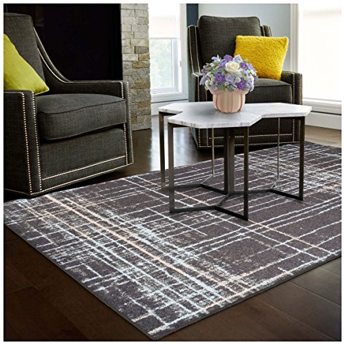 Superior Painted Stripes Collection, 6mm Pile Height with Jute Backing, Quality and Affordable Area Rugs, 4' x 6' Grey