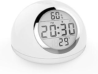 ALLOMN Despertador, Simulación de Amanecer, Regulable 7 Colores Reloj Despertando Radio Luz de Noche Junto a la Cama, Control de Gestos, Humedad de Temperatura Repetición de Tiempo 6 Sonidos Carga USB