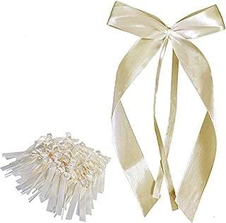 50 Stück Ouinee Autoschleifen Hochzeit Pew Ende Bowknots Ribbon Bögen Autos Stühle Dekorationen Ivory