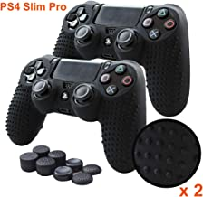Pandaren Anti-Slip Silicone Cover Skin PS4 Grip Set for PS4/SLIM/PRO Controller Black Black2 PS4