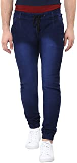 Urbano Fashion Men's Blue Stretch Slim Fit Jogger Jeans