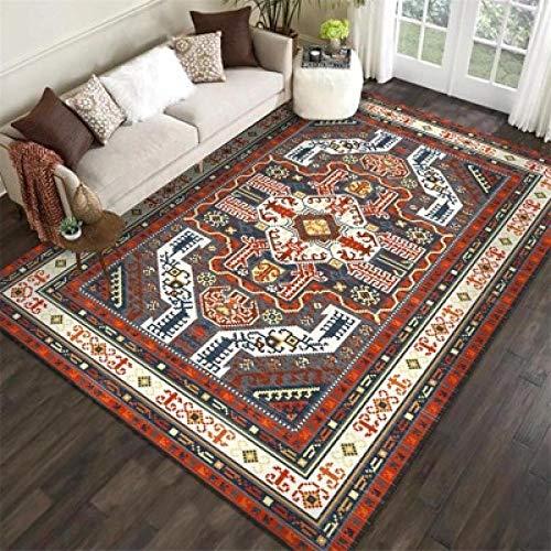 nobrand Moderno Alfombra Diseño Alfombra Flores Retro geométricas Rojas y grises-100 * 160CM,para Sala, comedór Dormitorio alfombras, fácil de Limpiar