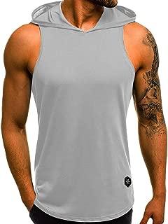 Realdo Mens Tank Tops Undershirts, Mens Casual Athletic Sleeveless Sport Pullover Hoodie Vest Tops T-Shirt
