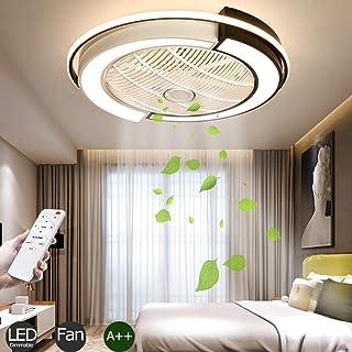 Ventilador LED Luz Techo Regulable Invisible Control Remoto 3 Velocidades Silencioso Fan Lámpara Techo Dormitorio Acrílica Redonda Sala Estar Habitación Para Niños Techo Iluminación Negro 53Cm 36W
