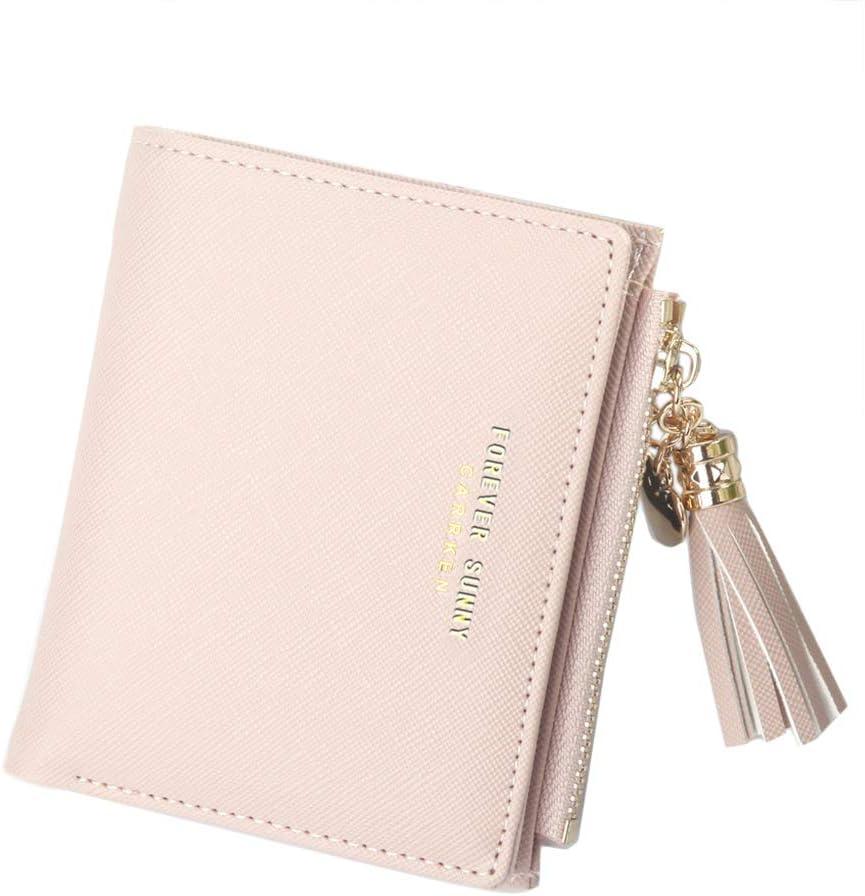 Belsmi Women's Small Compact Slim Leather Mini Wallet Lady Purse Zipper Pocket Card Organizer Bifold Wallets (Pink)