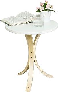 SoBuy stolik kawowy szafka nocna stolik kawowy okrągły do salonu,Biały,FBT29-W