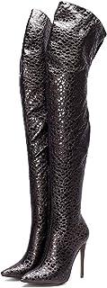 Hoge Laarzen Dames, Dames Lakleren Laarzen, Puntige Stiletto Hoge Hakken Damesschoenen,40
