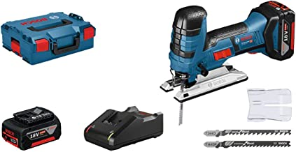 Bosch Professional GST 18 V-LI S - Sierra de calar a batería (18V, profundidad de corte 120 mm, 2 baterías x 4.0 Ah, en L-BOXX)
