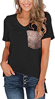 ✔ Hypothesis_X ☎ Women's Short Sleeves Color Leopard Print Tops Crew Neck Blouses Casual Shirts Loose Top with Pocket