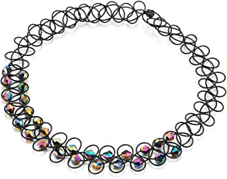 Ladies Womens Stretchable Black Braided Choker Necklace with Sparkling Colorful Beads