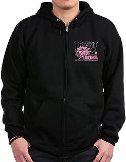 CafePress - Fight Like A Girl Breast Cancer Zip Hoodie (Dark) - Zip Hoodie, Classic Hooded Sweatshirt with Metal Zipper