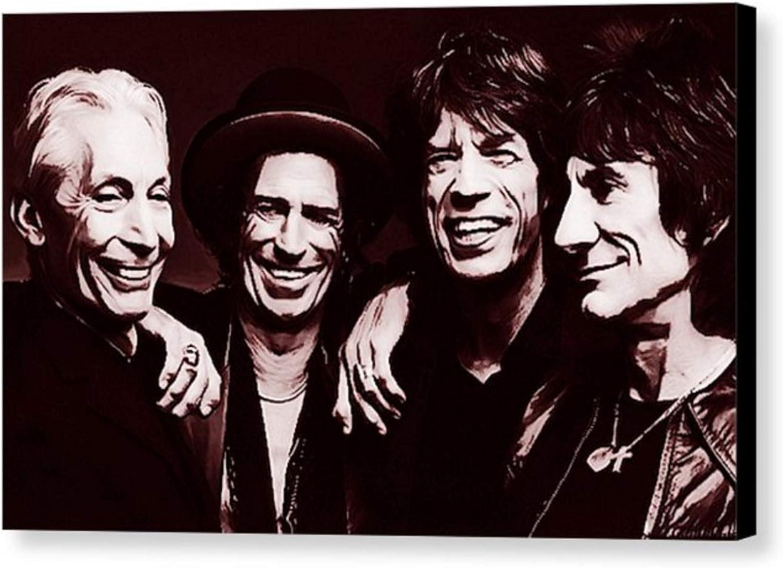 popular - Rolling Stones (Jagger Richards Richards Richards Wood Watts) Cuadro - Impresión sobre lienzo, Stretched Canvas Print, DRUCK AUF KEILLENWAND, impresión sobre lienzo - Reproducción de la pintura original (25 x 40 cm)  Hay más marcas de productos de alta calidad.