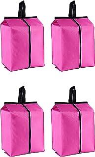 HUI JIN Lot de 4 sacs de rangement pour chaussures de voyage avec fermeture éclair étanche Rose rouge