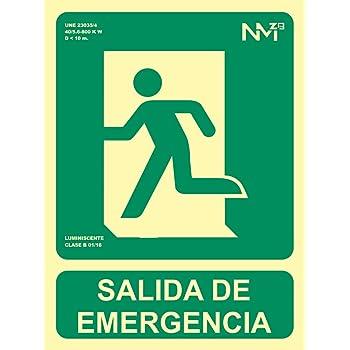 Cartel PVC Fotoluminiscente Salida Emergencia Escalera Abajo Derecha 30x21