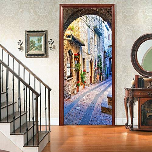 DFKJ Pared de ladrillo Pegatina para Puerta póster Autoadhesivo Arte 3D Papel Tapiz Mural con Agujero Sala de Estar Dormitorio decoración del hogar A12 86x200cm