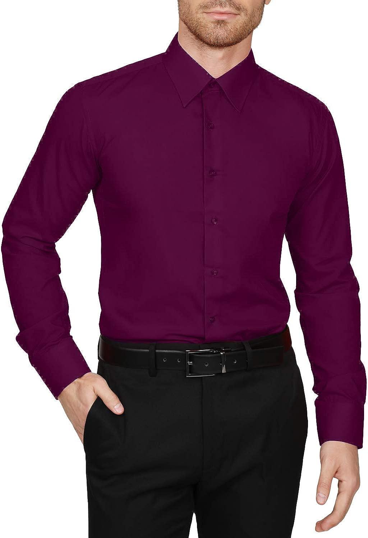 NE PEOPLE Men's Classic Slim Fit Button Down Long Sleeve Solid Color Dress Shirts S-5XL