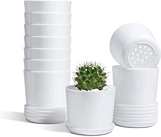 T4U 植木鉢 プラ鉢 3号鉢 10個セット 沢山の排水穴 受け皿付き プランター 小型 室内 インテリア 現代風 多肉植物鉢 ハーブ鉢 サボテン鉢 観葉植物鉢