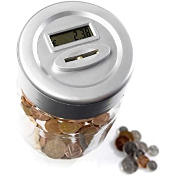 Automatic UK Coin Counting Money Box for Kids and Adult Safe Money Bank Coin Saving Pot Container with LCD Display AOZBZ Digital Piggy Bank Counter with Night Glow Light 2.5L Large Capacity