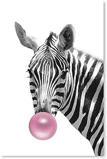 Awkward Styles Zebra Blow Pink Bubble Gum Poster for Room Decor Lovely Zebra Poster Blue Gum Animal Gift Fine Art Print Animal Printed Art 24