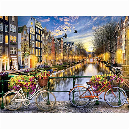 Diamond Embroidery DIY 5D Diamond Painting Kits for Kids Adults Full Drill Rhinestone Embroidery Diamond Art Cross Stitch for Home Bedroom Wall Decoration Gift House Bike River (50x60cm/19.6x23.6in)