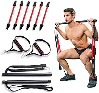 Portable Home Gym Pilates Bar System, Full Body Workout Equipment for Home, Office or Travel, Weightlifting and HIIT Inter...