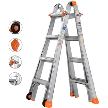 "TACKLIFE Ladders 13ft 17ft, 5 Modes Extension Ladder Upgraded Aluminum, ANSI standard, 300 lb Duty Rating (Load Capacity Type IA), Stronger ""J"" Lock Design, Thick Non-Slip Foot Pad, Multi-Use Ladder"