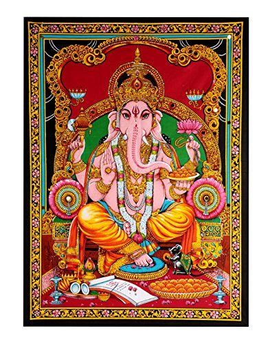 RAJRANG BRINGING RAJASTHAN TO YOU Indian Ganesh Tapestry - Spiritual Tapiz Religioso Lord Ganesh Wall Hanging Pared India Colgante - Rojo - 213 x 137 cm