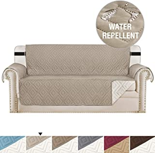 H.VERSAILTEX Reversible Sofa Slipcover Furniture Protector Anti-Slip Couch Cover Water Resistant 2 Inch Wide Elastic Straps Sofa Cover Couch Covers for Pets Kids (Sofa X-Large, Khaki/Beige)