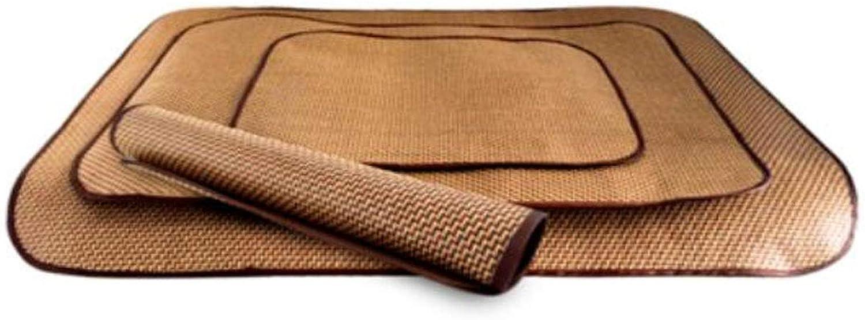 Jiansheng Dog Bed, Summer Mat Cooling Sleeping Mat, Plant Fiber Rattan Kennel Mat Pet Ice Pad Dog Cat Supplies, Brown XL (color   Brown, Size   M)