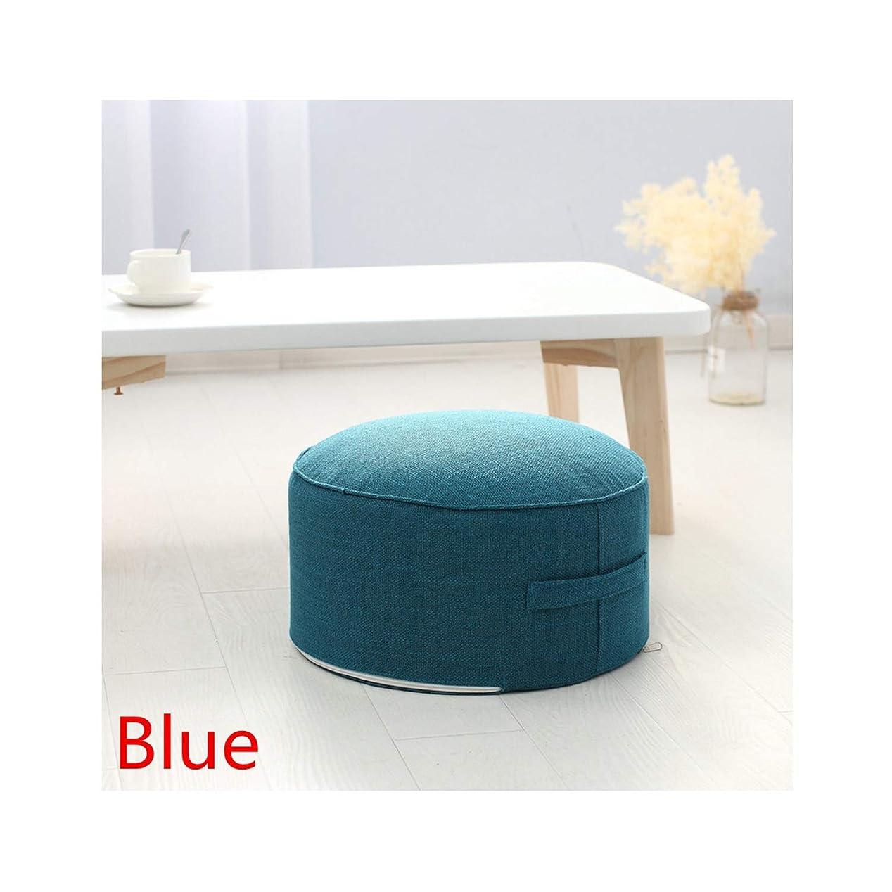 経験者長椅子知恵座布団 チェアクッション ラウンド スポンジシートクッション 畳クッション 瞑想/ヨガ ラウンドマット 椅子クッション,Blue