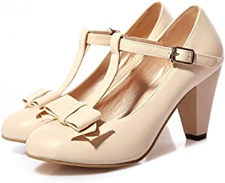 3c4943ce28a Susanny Women s Chic Sweet Round Toe T-Strap Bows Adorable Buckle High Cone  Heel Mary