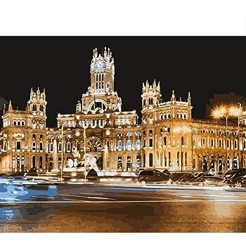 kdbshfm Pintar por números Madrid Capital de España Colorear por números Pintura acrílica Paisaje por números Kit Paisaje Pared Fotos-con Enmarcado: Amazon.es: Hogar