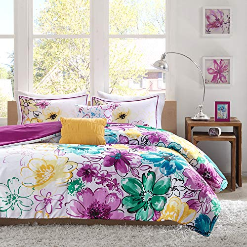 Intelligent Design Comforter Set Vibrant Floral Design, Teen Bedding for Girls Bedroom Mathcing Sham, Decorative Pillow, Full/Queen, Olivia Blue