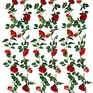 SHACOS Artificial Rose Garlands Set of 4 Rose Vines Leaves Hanging Rose Flower Vine Home Wedding Party Decor (Red, 4)