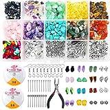 Piedras Naturales, Kit Pendientes Joyeria,15 colores Kit de cuentas de piedras preciosas irregulares de, para jewelry making,Manualidad de Bricolaje Pulseras Aretes Collar