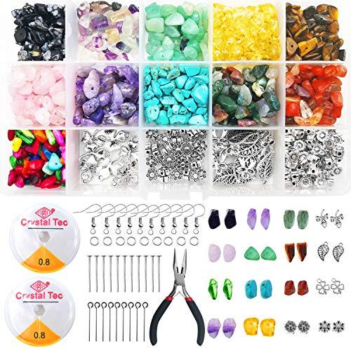 SUPRBIRD 933 Piezas Manualidades Adultos Kits Abalorios, Irregular Chips Piedra Cuentas Naturales Gemstone Beads Kit para DIY Joyas, Joyería, Pendientes, Collares y Pulseras Hacer Suministros