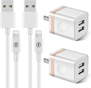 YANME Phone Charger 3ft Cable with Plug (4- in-1), Dual USB Wall Charger Adapter with 3 Foot Long Charging Cord Compatible with Phone 11/11 Pro/Xs/Xs Max/XR/X 8/7/6/6S Plus SE/5S/5C, Pad-Gold