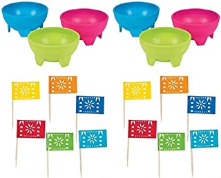 Set of 6 Bright Salsa/Guacamole Bowls and 144 -Fiesta Flag Picks - Cinco De Mayo/Fiesta Party Pack