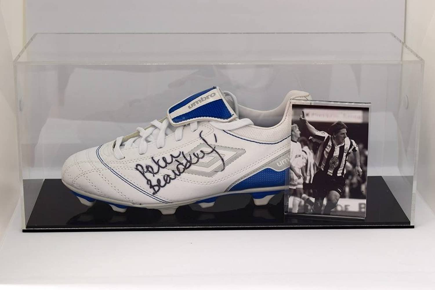 Sportagraphs Peter orsodsley Signed Autograph Footbtutti avvio Display Case nuovocastle COA