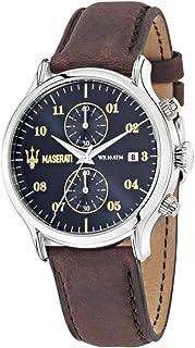 ساعة بمينا ازرق وسوار من الجلد البني للرجال، طراز R8871618001 من مازيراتي