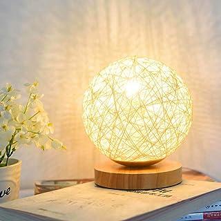 AEUWIER Lampe de table en bois, veilleuse LED avec boule sphérique en rotin en osier tricoté à la main et chargeur USB pou...