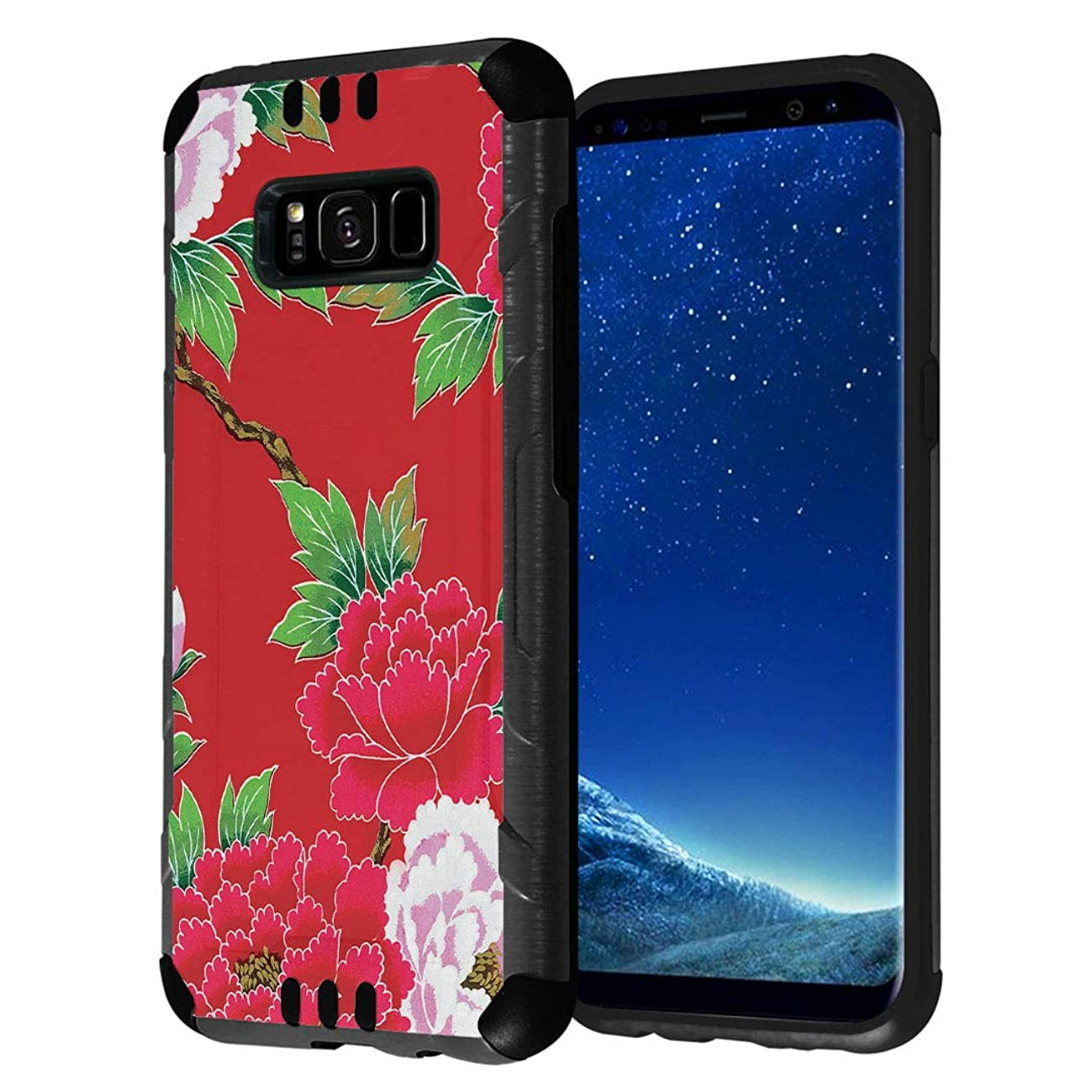 Capsule Case Compatible with Galaxy S8 [Hybrid Fusion Dual Layer Slick Armor Cushion Case Black] for Samsung Galaxy S8 SM-G950 SPHG950 - (Vermilion Red Flower)