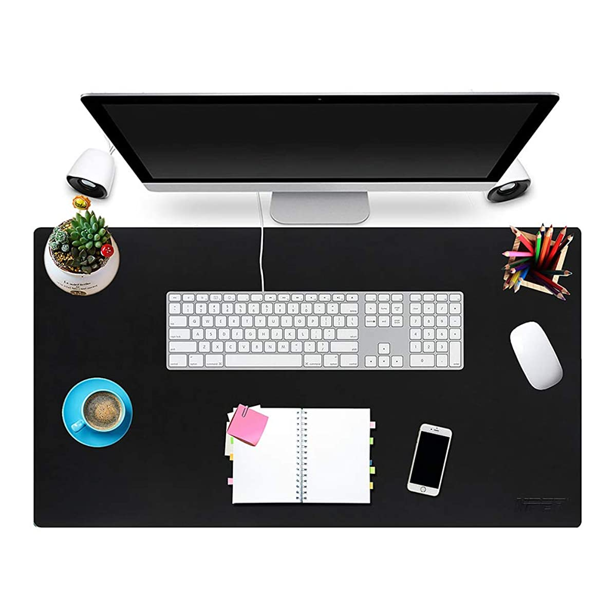 Multifunctional Office Desk Pad 31'' x 17'', NPET P10 Ultra Thin Waterproof PU Leather Mouse Pad, Extended Large Mat with Non-Slip Rubber Base, Dual Use Desk Writing Mat for Office/Home