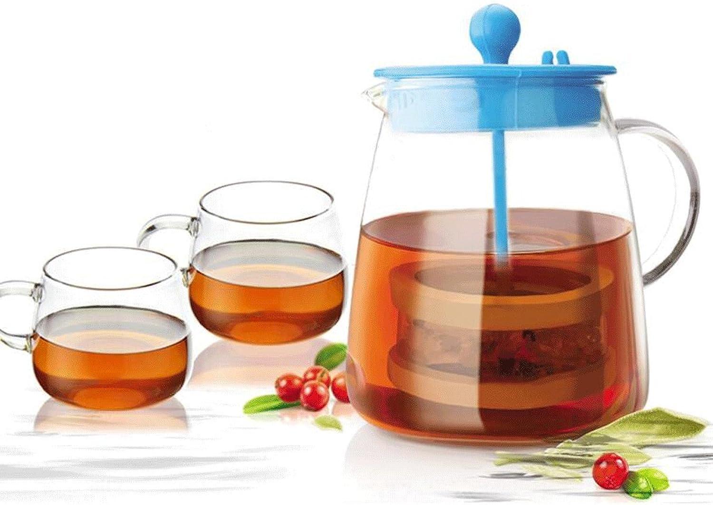 GAOLILI Théière en verre résistant à la chaleur Fleurs créatives théière filtre thé Pot Set (théière + 2 tasses)