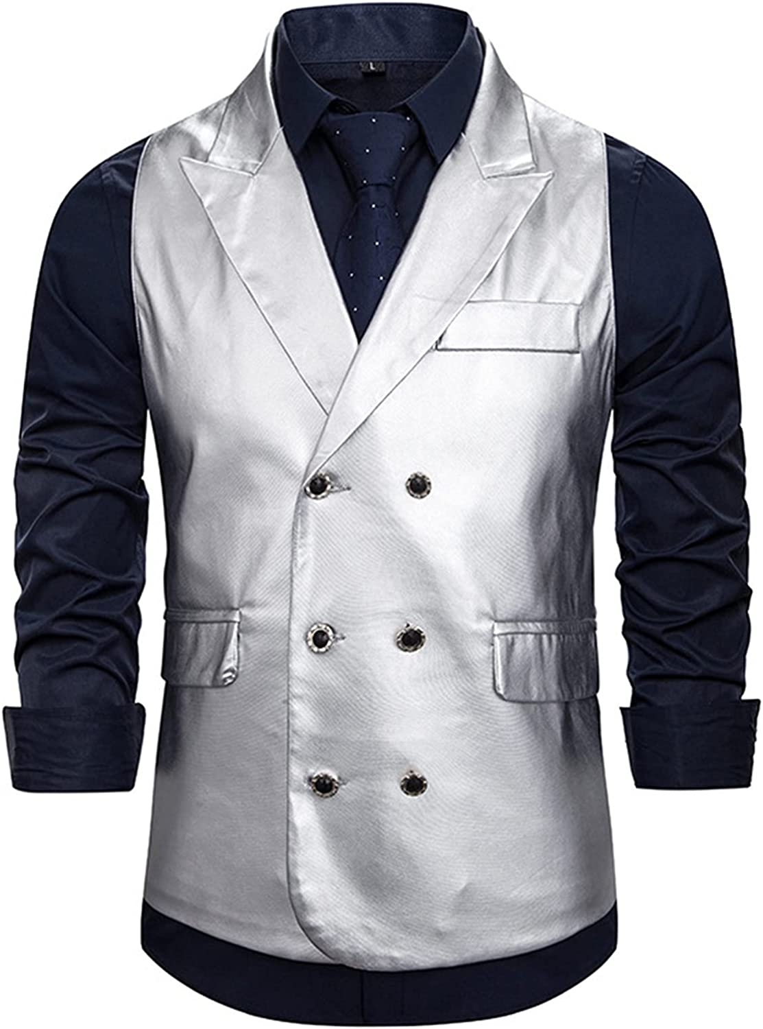Men's Nightclub Glossy Waistcoat,Classic Double Breasted Waistcoats,Wedding Party Business Fit Vest