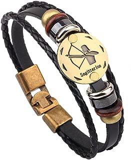 Alloy Buckle 12 Constellation Bangle Bracelet,Handmade Beaded Genuine Leather Bracelet for Men Birthday Gifts
