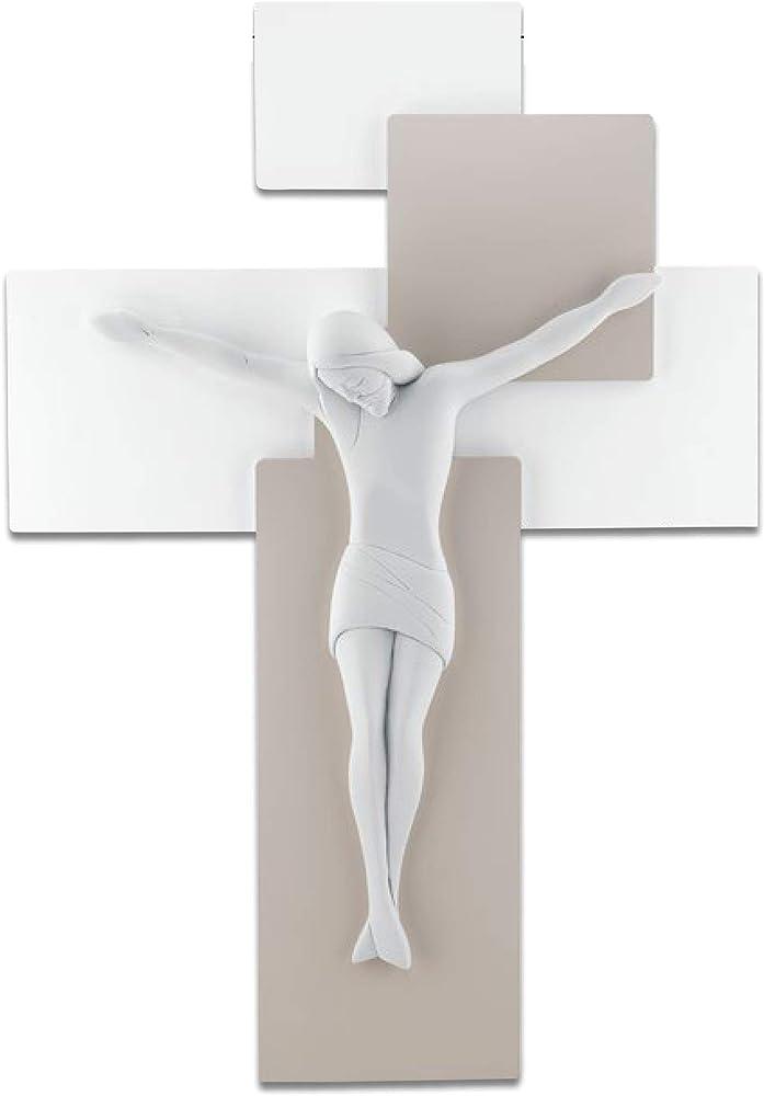 Memory srl crocifisso stilizzato moderno da parete con cristo realizzato in marmorino bianco ME12103NB
