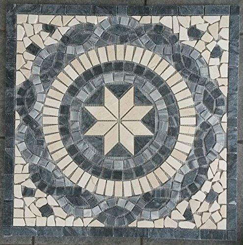 Antikmarmor Rosone 66x66 Windrose Mosaik Fliesen Naturstein Schwarz Weiss Grau EM3