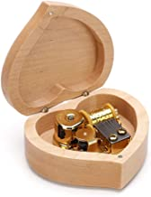 Musical Accessories Simple Heart-shaped Wooden Music Box, Classical Music Box Decoration Birthday Valentine's Day Gift Music Boxes (Color : Cannon)