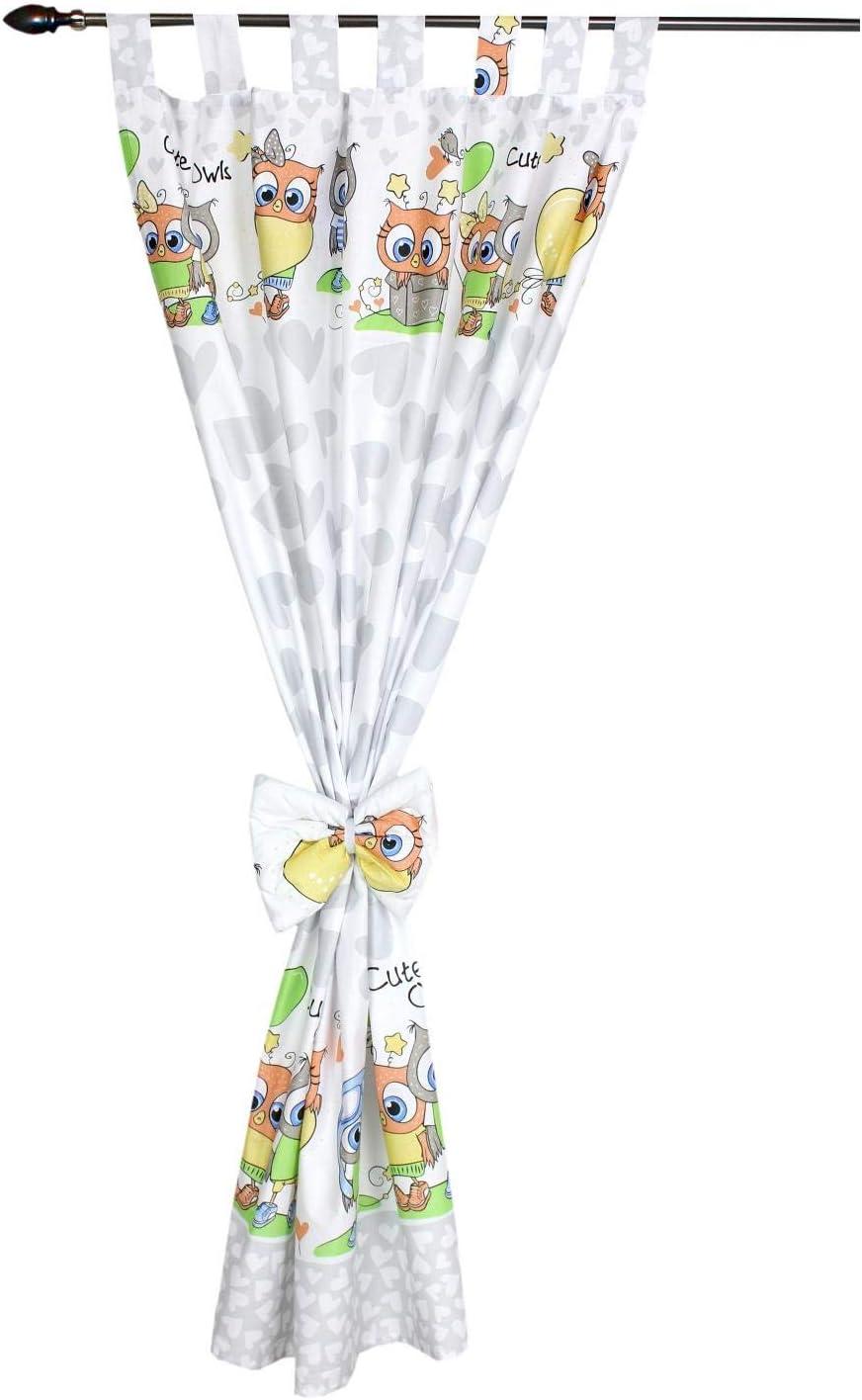 TupTam Kinderzimmer Gardinen mit Dekoschal 2er Set Gr/ö/ße: ca 155x100 cm Farbe: Eulen mit Herzballons//Grau